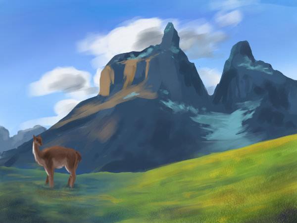 Blechschild Baron schöner Berg mit Schnee im Stil eines gemalten Bildes 20x30 cm